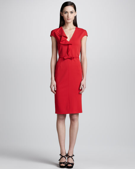 Ruffle Front Cap-Sleeve Dress, Red