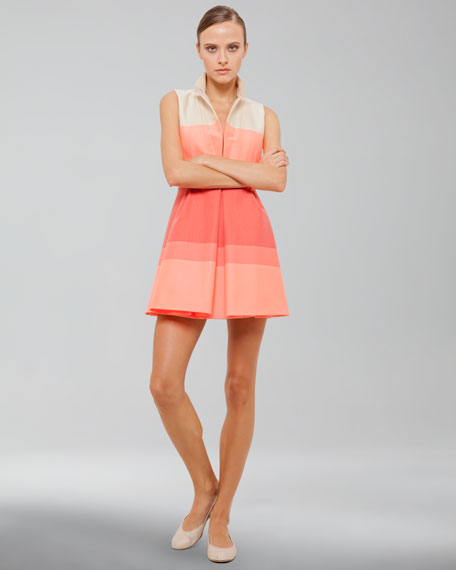 Sleeveless Stretch Cotton Coat Dress, Fluo