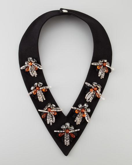 Beaded Collar V-Necklace, Black