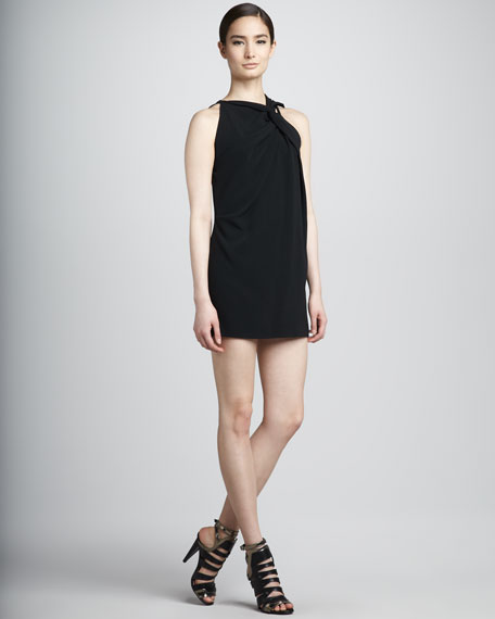Sol Knotted Tunic/Top/Minidress, Black