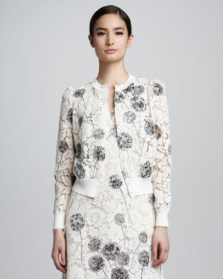 Wishflower Dandelion Lace Cardigan, White/Gray