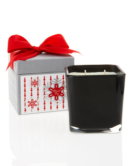 Square Holiday Winter Fig Candle