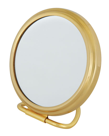 Brass Stand Folding Double Sided Purse Mirror, 2.75""