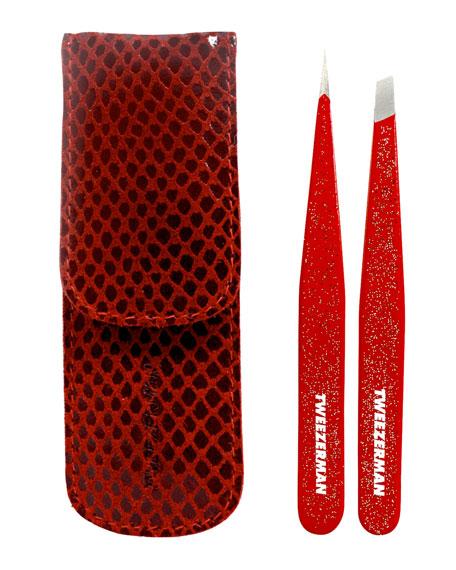 Red Glitter Tweezer Set