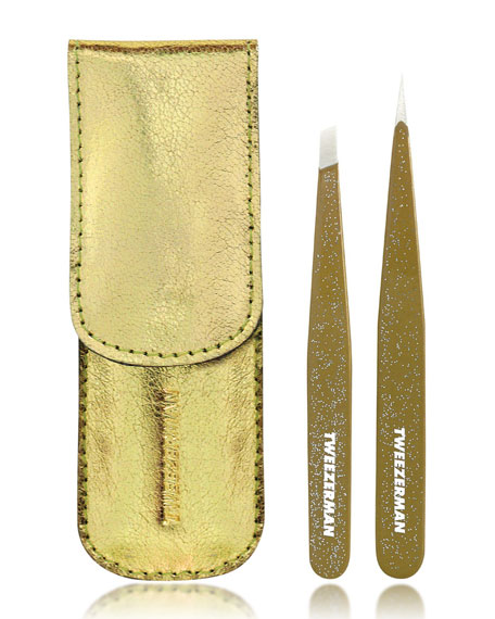 Gold Glitter Tweezer Set
