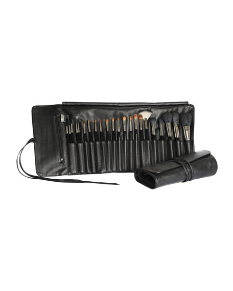 22-Piece Makeup Brush & Leather Roll Set