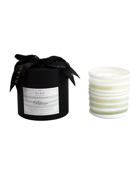 Blanc Botanic Candle in Thick-Striped Artisan Vessel