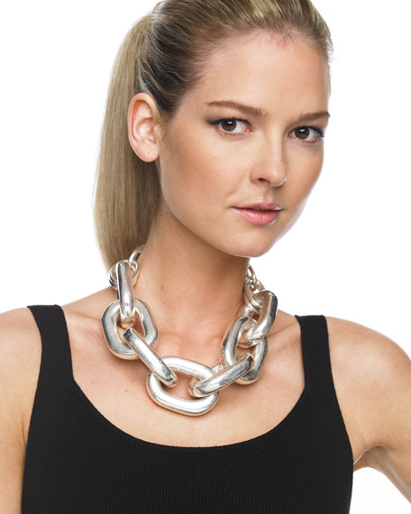 Chain Link Necklace, Silver/Gold