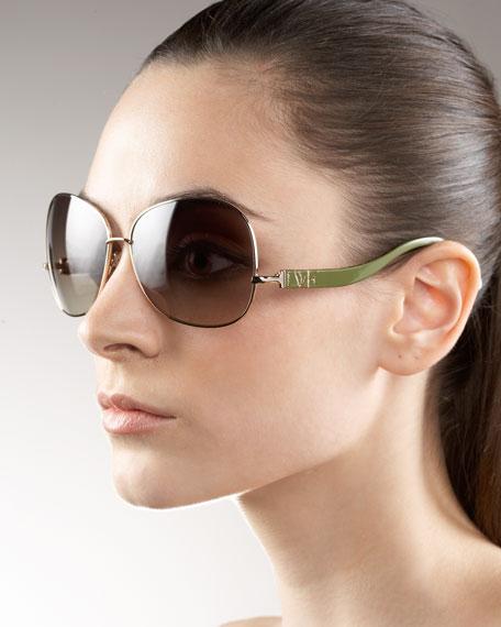 Metal Curved-Arm Sunglasses