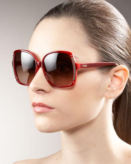 Square Logo-Trim Sunglasses