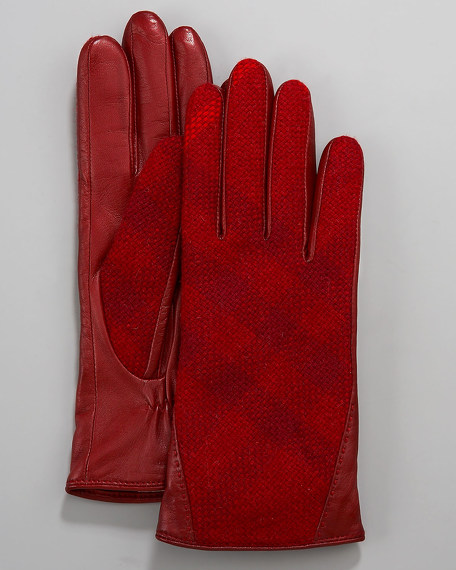 Jenny Tweed Check Gloves, Red