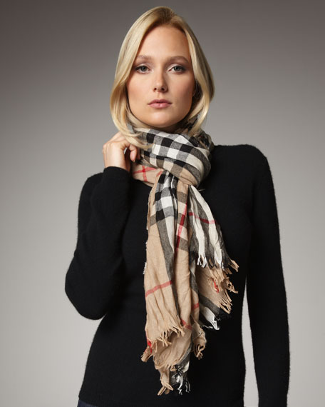 Giant Check Crinkle Scarf, Camel