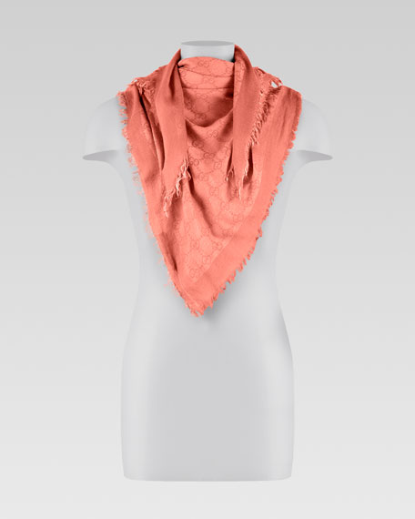 Crinkle Triangle Scarf, Coral