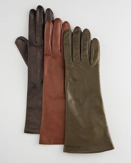 Leather Gloves, Black Cashmere Lined
