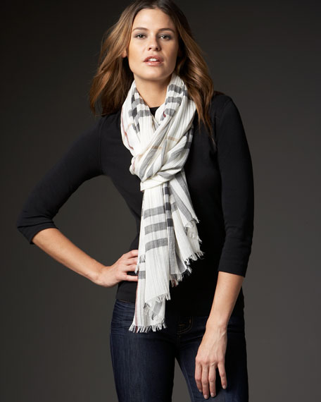 Giant Check Crinkle Scarf, Ivory