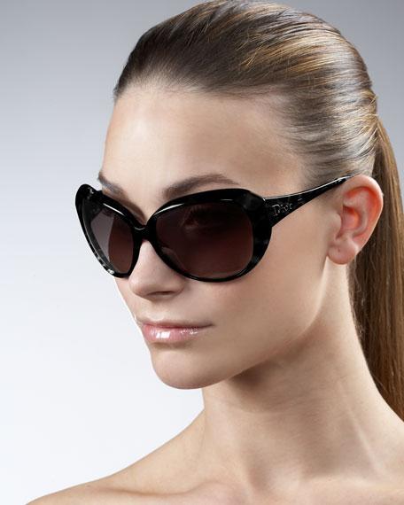 Oversized Faceted Sunglasses, Black