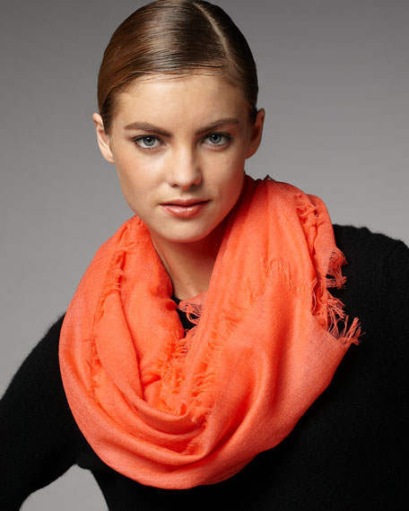 Ultra Lightweight Cashmere Scarf, Hot Coral