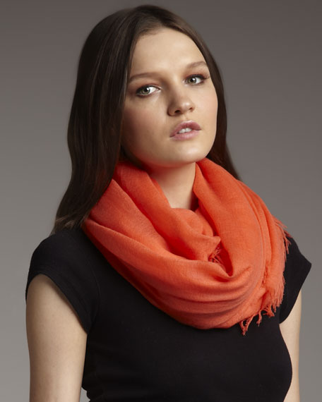 Ultra Lightweight Cashmere Stole, Hot Coral