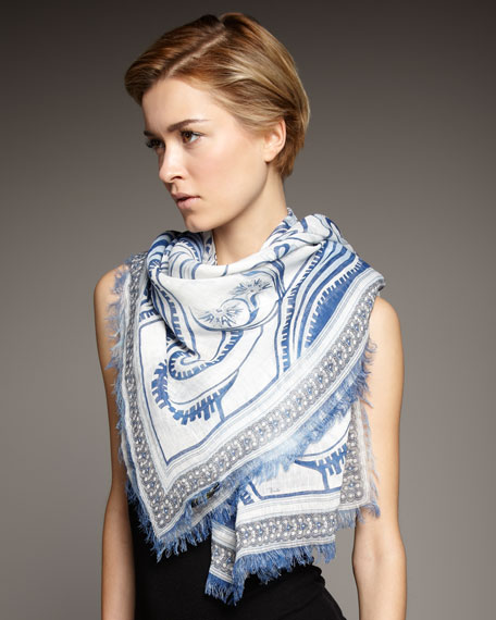 Greek-Print Square Scarf