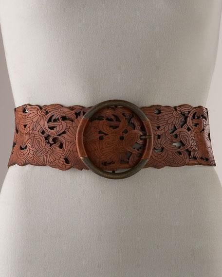 Wide Laser-Cut Leather Belt