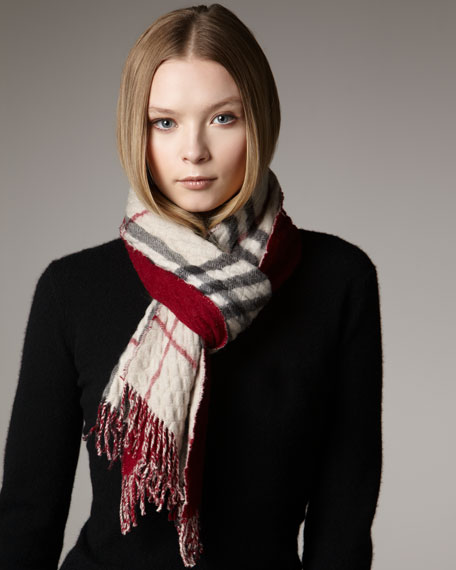 Quilted Solid-to-Check Scarf, Raspberry