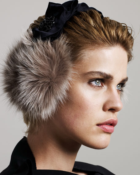 Jeweled Fur Earmuffs, Beige