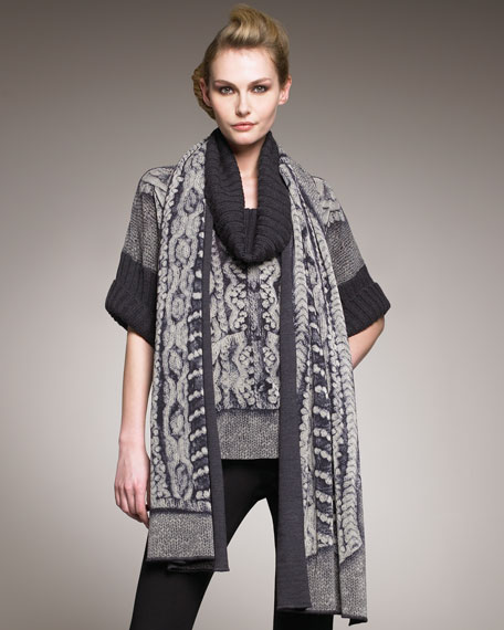 Cable-Print Tulle Scarf