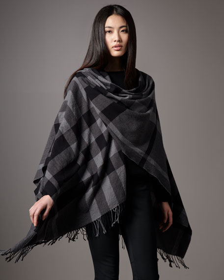 Mega Check Wool Cape, Gray