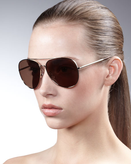 Etched-Arm Aviator Sunglasses