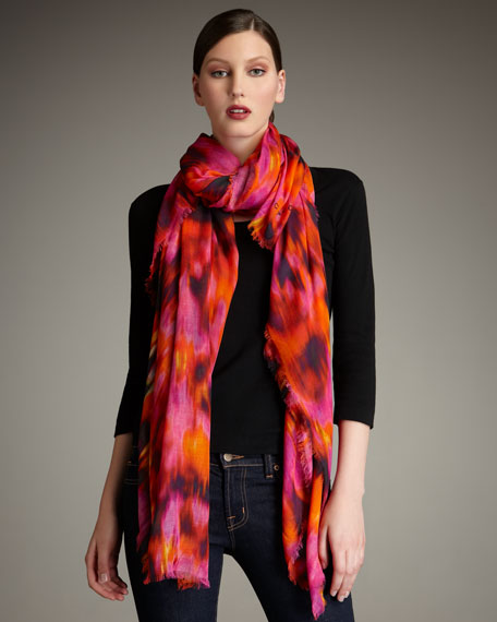 Watercolor Ikat-Print Stole