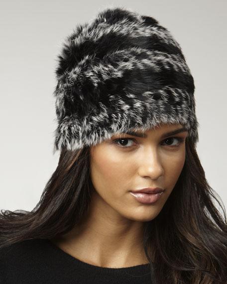Hayworth Striped Fur Hat