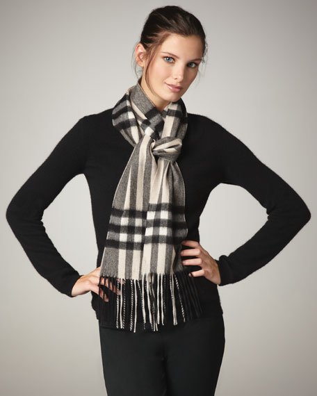 Giant Check Skinny Cashmere Scarf, Charcoal