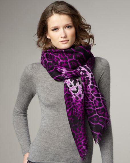 Leopard-Print Stole, Fuchsia