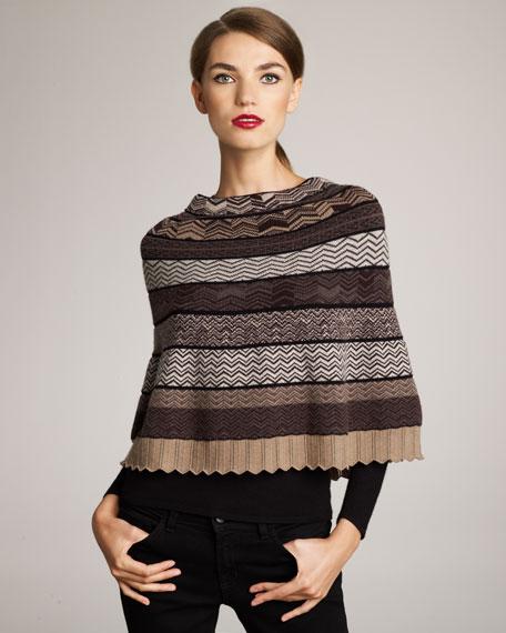 Zigzag-Knit Cashmere Capelet, Brown