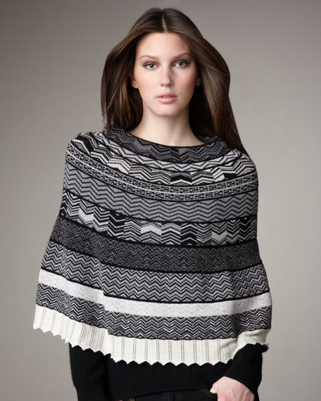 Zigzag-Knit Cashmere Capelet, White