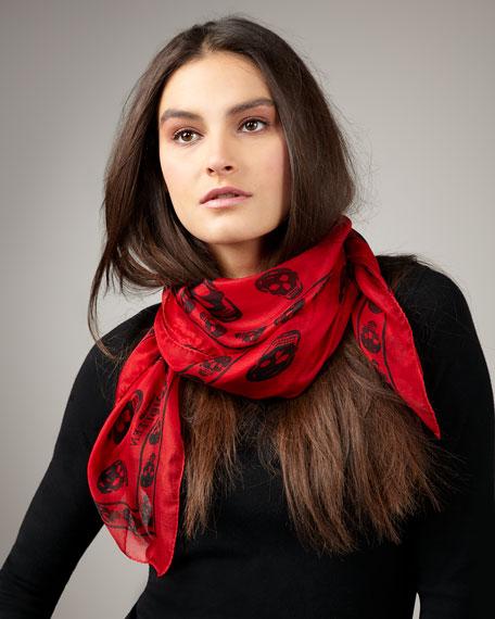 Skull-Print Chiffon Scarf, Red/Black