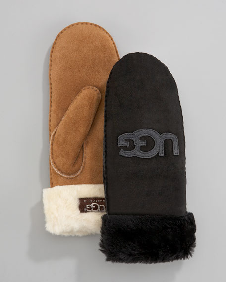 Logo-Applique Fur-Cuff Mittens