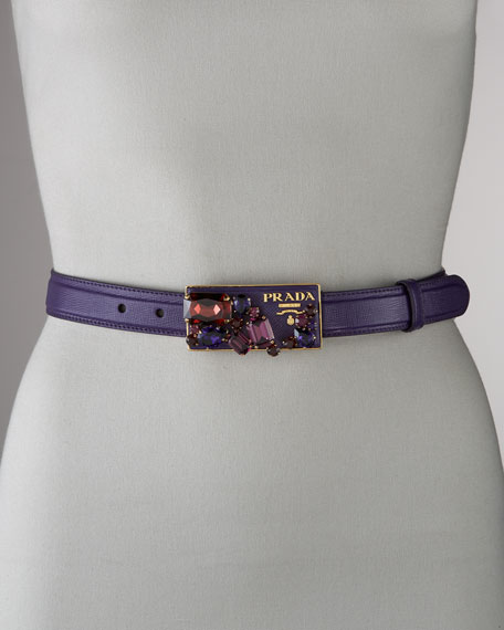 Prada Jeweled-Buckle Belt