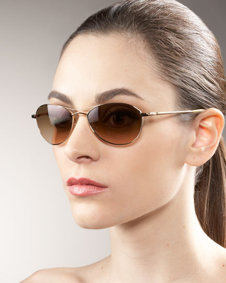 Aero Metal Sunglasses, Gold