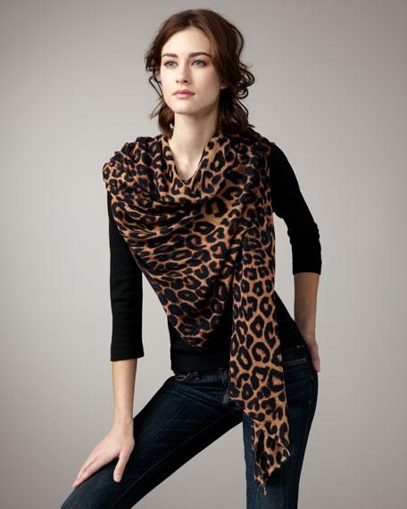 Leopard-Print Scarf, Black