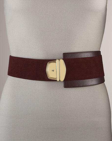 Leather & Suede Push-Lock Belt