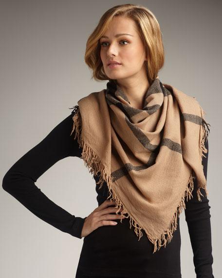 Mega-Check Wool Scarf, Camel
