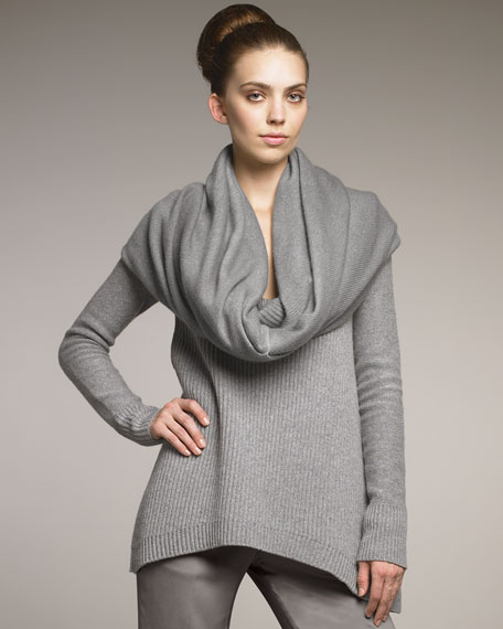 Double-Layer Cowl Cashmere Scarf