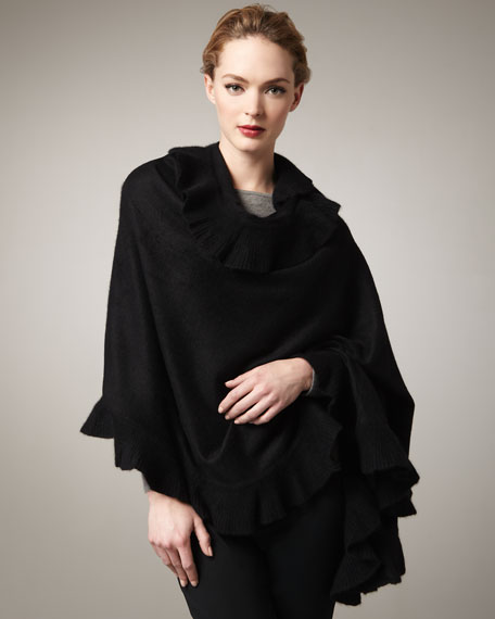 Large Ruffled Cashmere Wrap, Black