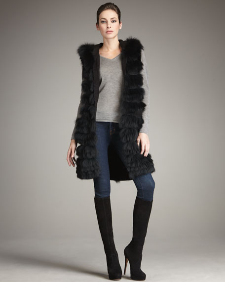 Long Hooded Fox Fur Vest