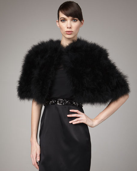 Feather Capelet, Black