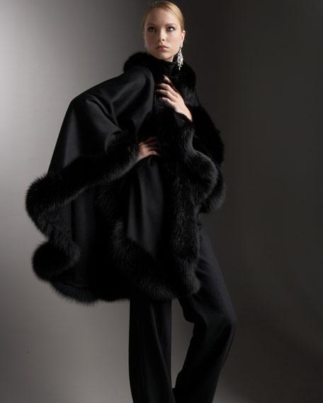 Fur-Trim Cashmere Cape