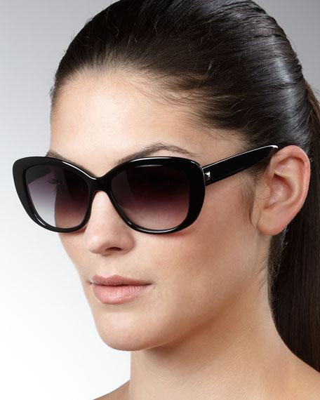 Ceylon Wide-Frame Sunglasses, Black