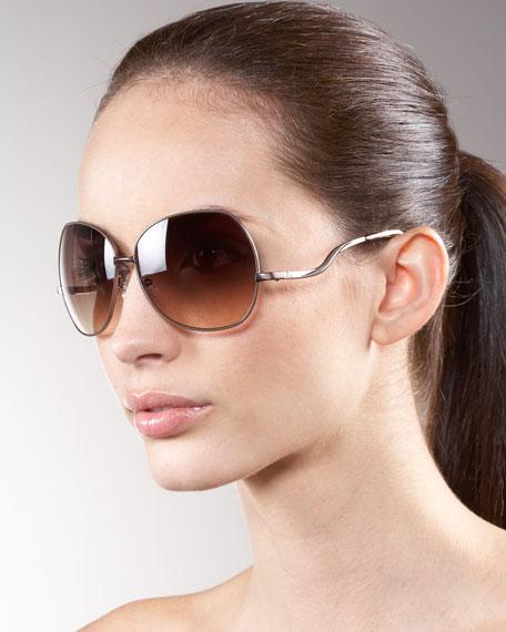 Metal-Rim Oversize Sunglasses, Chocolate