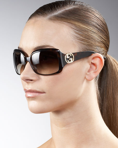 Wrap G-Temple Sunglasses, Havana